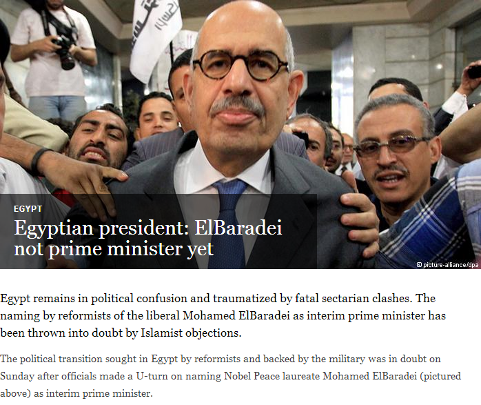 elbaradei not pm  yet 8.7.2013