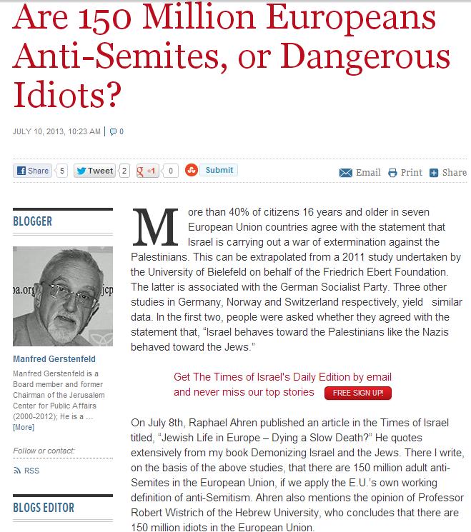 gerstenfeld 150 million antisemites or just idiots 10.7.2013