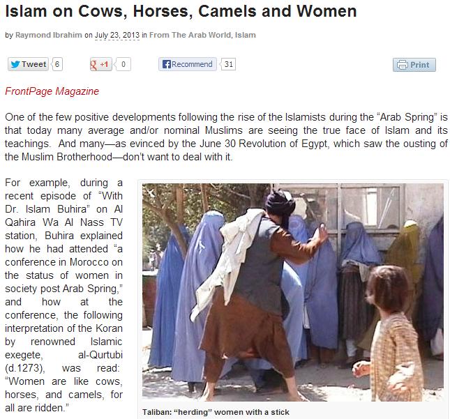 islam on animals and women 24.7.2013