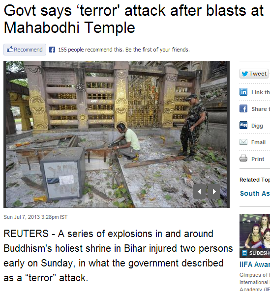 islamic terror attack on buddhism holiest temple 8.7.2013