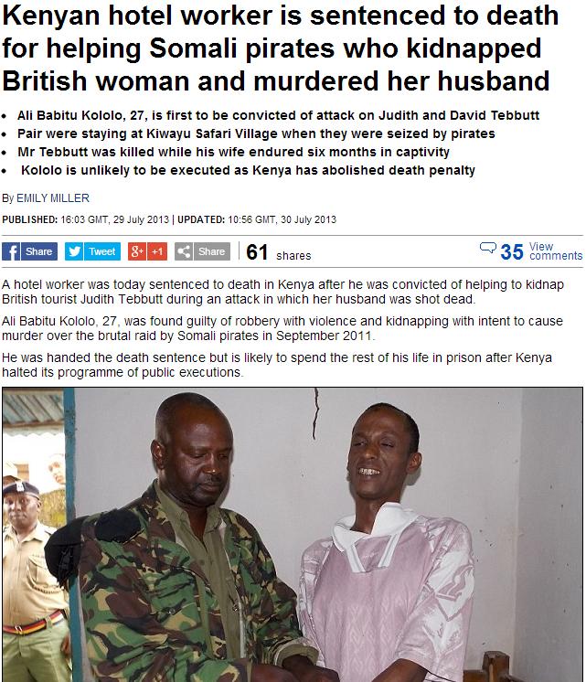 kenya sentences muslim to death for role in kidnap murder of british citizen 31.7.2013