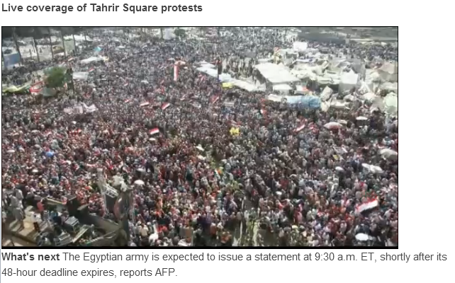 live from tahrir square military coup 3.7.2013