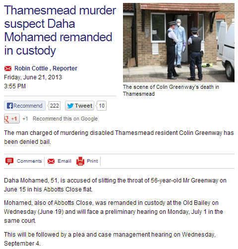 media sits on story of muslim slitting the throat of wheelchair bound man 27.7.2013