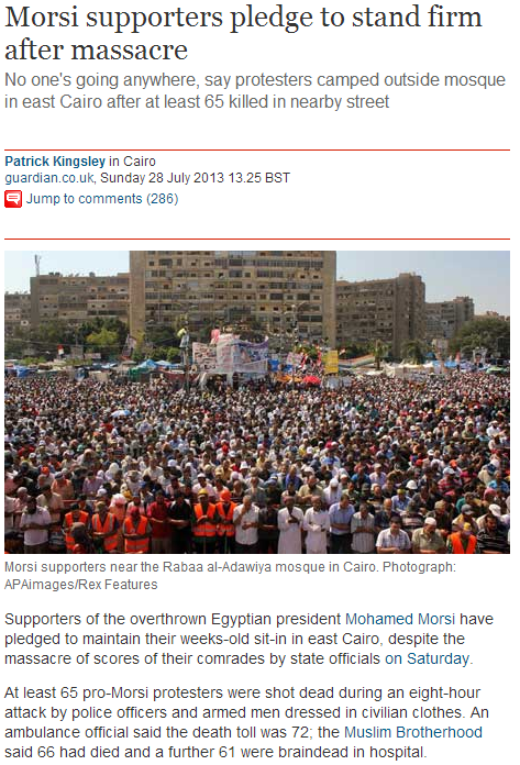 morsi supporters promise to stand firm after massacre 29.7.2013
