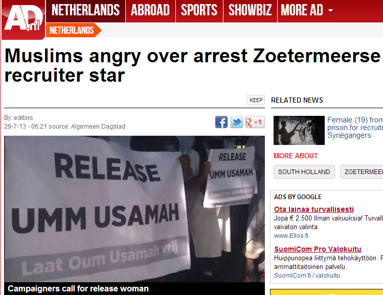 muslims in europe angry over arrest of muslim woman recruiting in europe for jihad in syria 29.7.2013