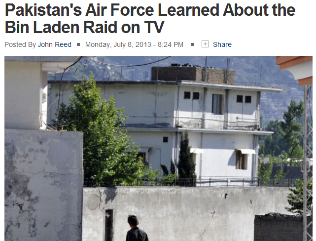 pakistan airforce learned of bin laden raid on tv 9.7.2013