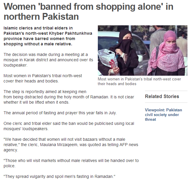 pakistan women banned from shopping alone without accompanying male escort 22.7.2013