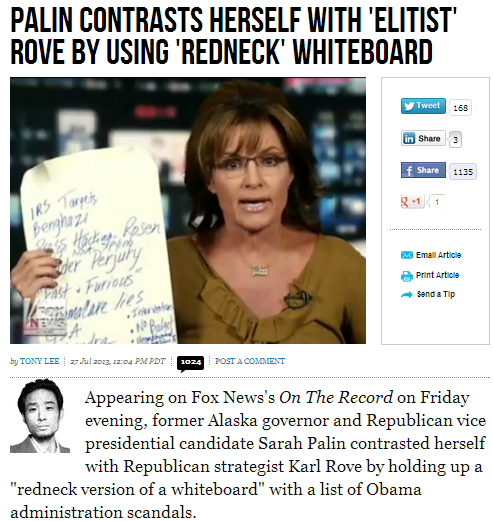 palin contrasts herself with elitist rove on whiteboard 28.7.2013