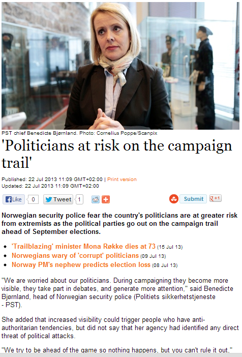 politicians in safe norway now at risk  22.7.2013