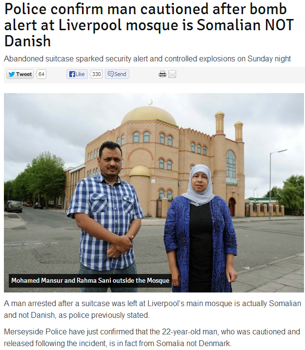 somali held in bomb threat against mosque in Liverpool UK 3.7.2013