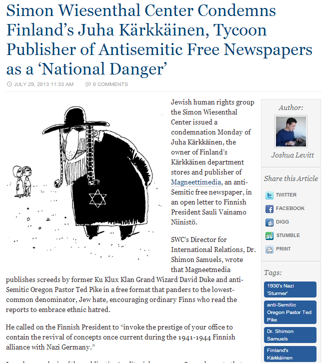 swc condemns Finnish chain karkkainen for antisemitic articles in free newspaper 29.7.2013