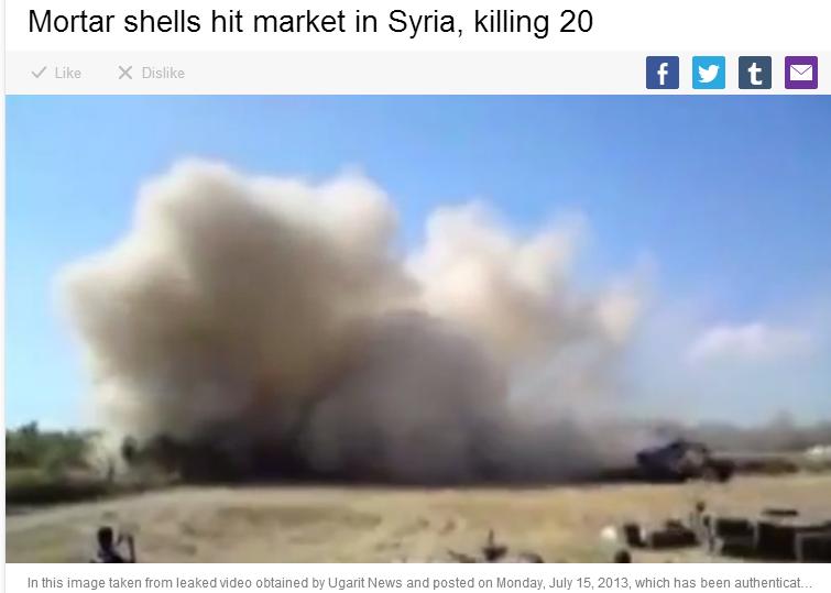 syria mortar shell hits market 20 dead 22.7.2013
