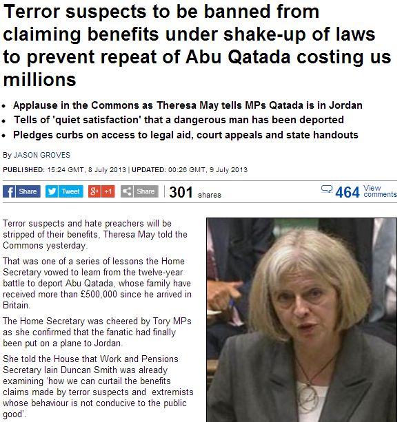 terror sspects to be banned from social benefits in UK 10.7.2013