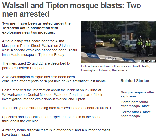 tipton mosque blast ends in two estern europeans arrested 20.7.2013