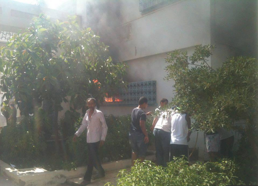 tunisia ruling party headquarters fire 25.7.2013
