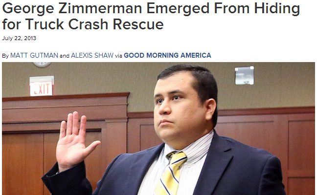 zimmerman does good rescues family from over turned car 22.7.2013