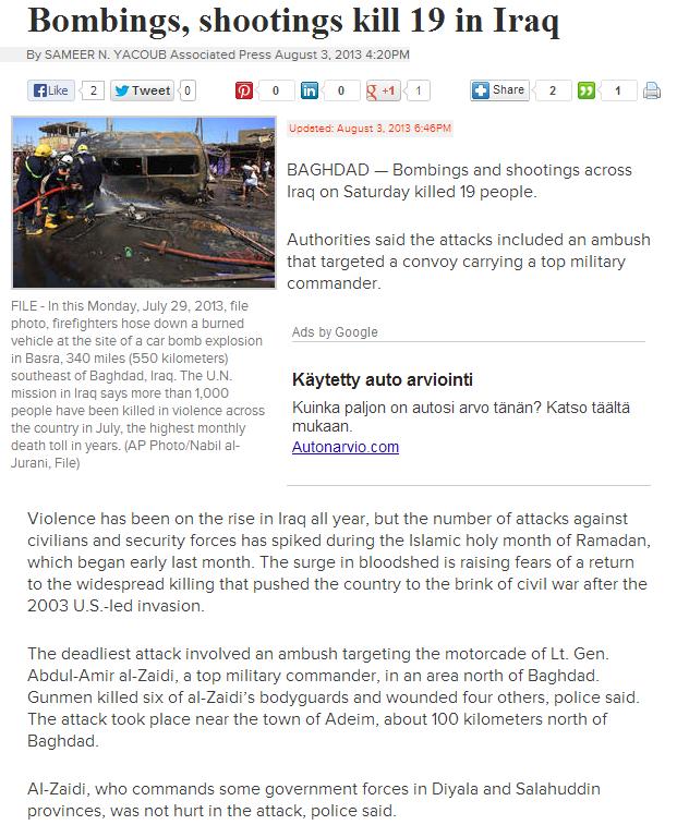 19 MURDERS IN IRAQ 5.8.2013