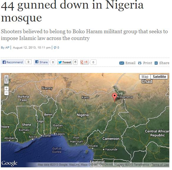 4 mowed down in nigerian mosque by boko haram 13.8.2013