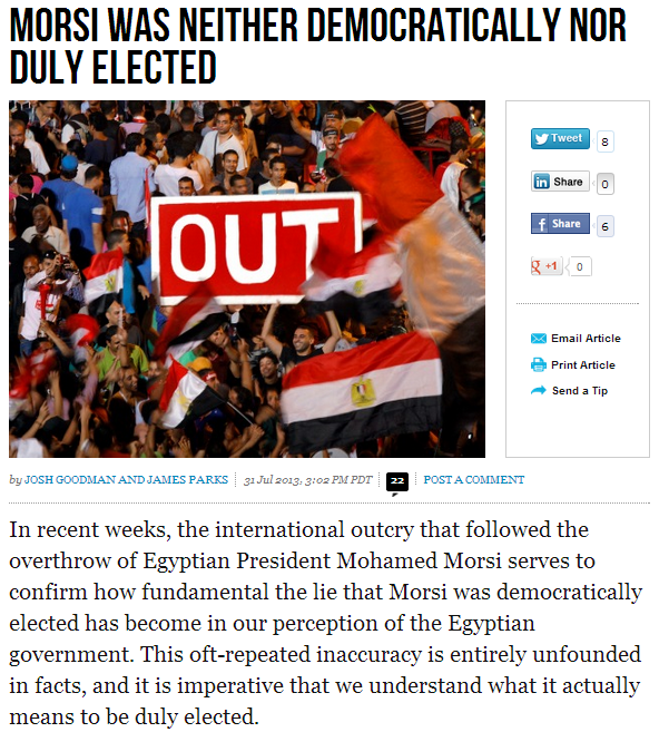 Morsi not democratically elected 1.8.2013