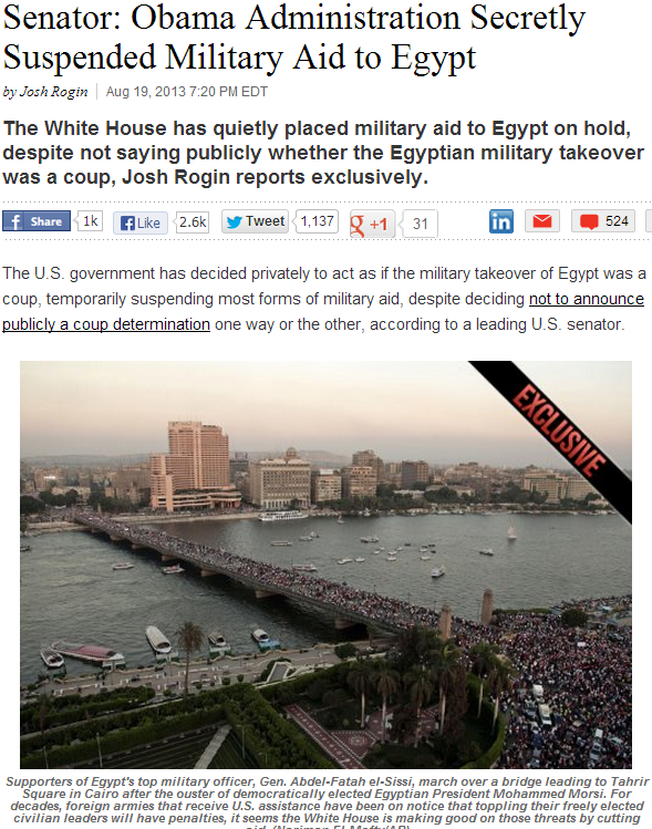 Obama secretly suspended military aid to egypt 20.8.2013