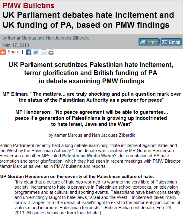 PMW - uk parliament debates uk funding of pa hate speech based on pmw findings 21.8.2013