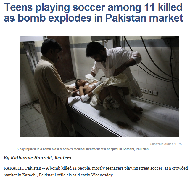 SOCCER TEENS KILLED IN PAKISTANI MARKET 8.8.2013