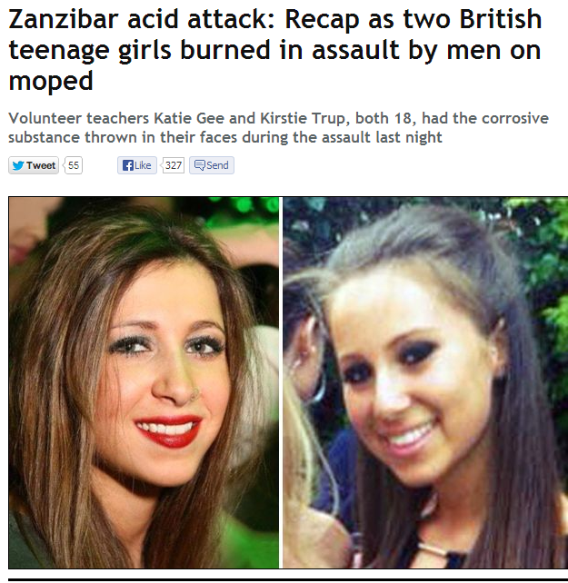 ZANZIBAR ACID ATTACK ON BRITS 9.8.2013