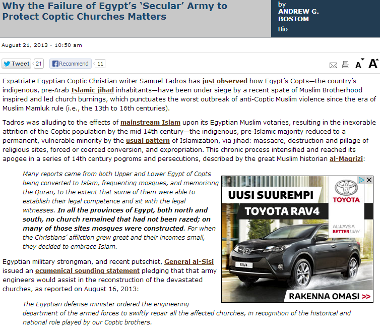 andy bostom why egypt's 'secular'army failed to protect christians 22.8.2013
