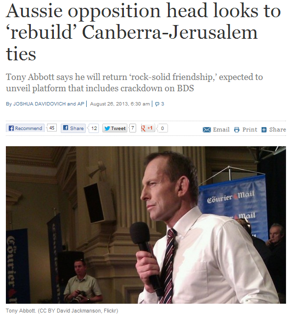 aussie opposition looks to strengthen ties with Jewish state 26.8.2013