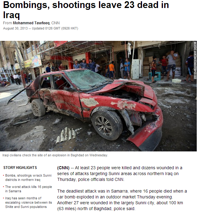 bombings in iraq 30.8.2013