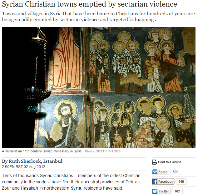 christians emptied from syrian towns and cities 3.8.2013