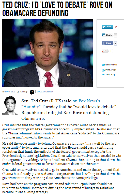 cruz would love to debate doughboy rove on defunding obamacare 1.8.2013