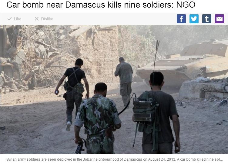 damascus car bomb kills 9 soldiers 30.8.2013