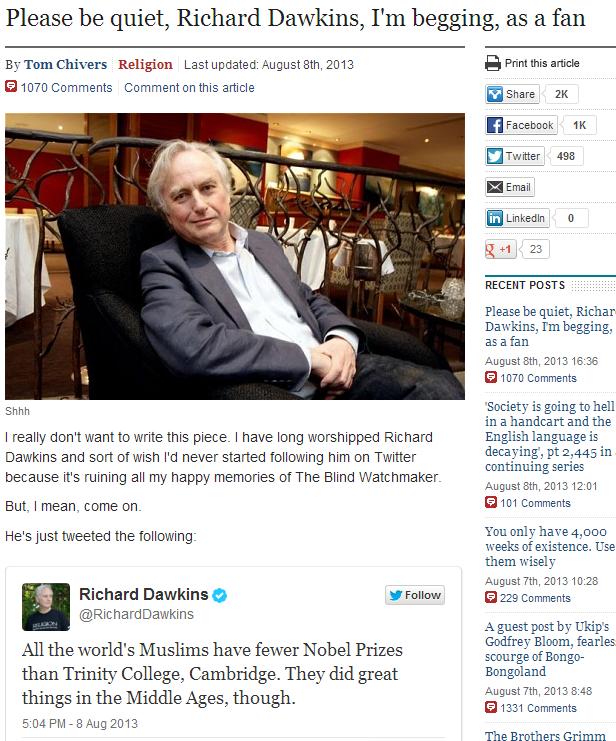 dawkins under fire. 9.8.2013