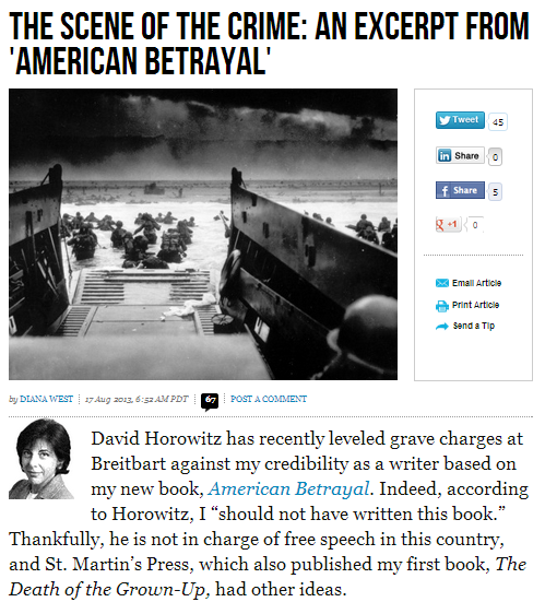 diana at breitbart answers back to Horowitz 17.8.2013