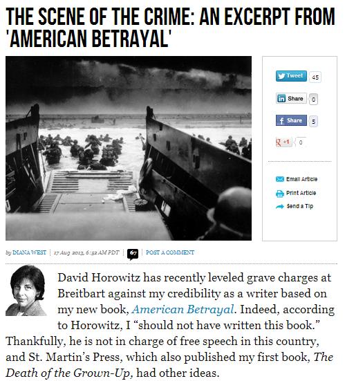 diana at breitbart answers back to Horowitz 17.8.2013
