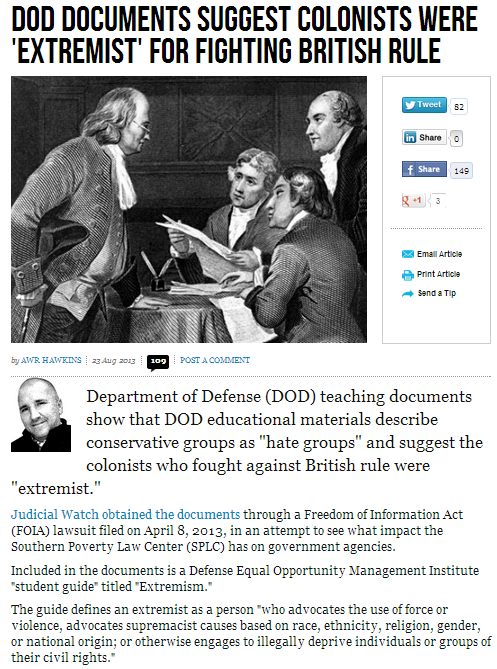 dod docs say founding fathers of the us were exremists 24.8.2013