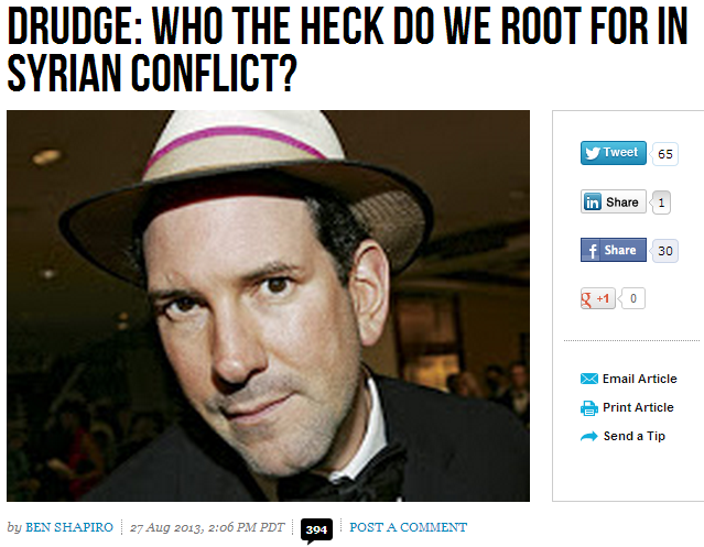 drudge who do we root for in syrian civil war 28.8.2013