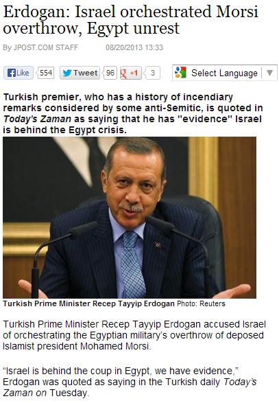 erdogan says joos behind egyptian coup 20.8.2013
