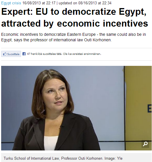 finn expert says eu can democratize egypt through luring of economics 18.8.2013