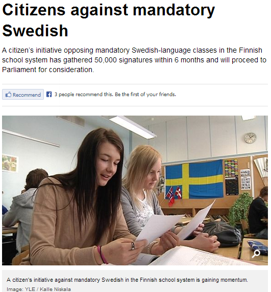 finn movement against mandatory swedish language studies 12.8.2013