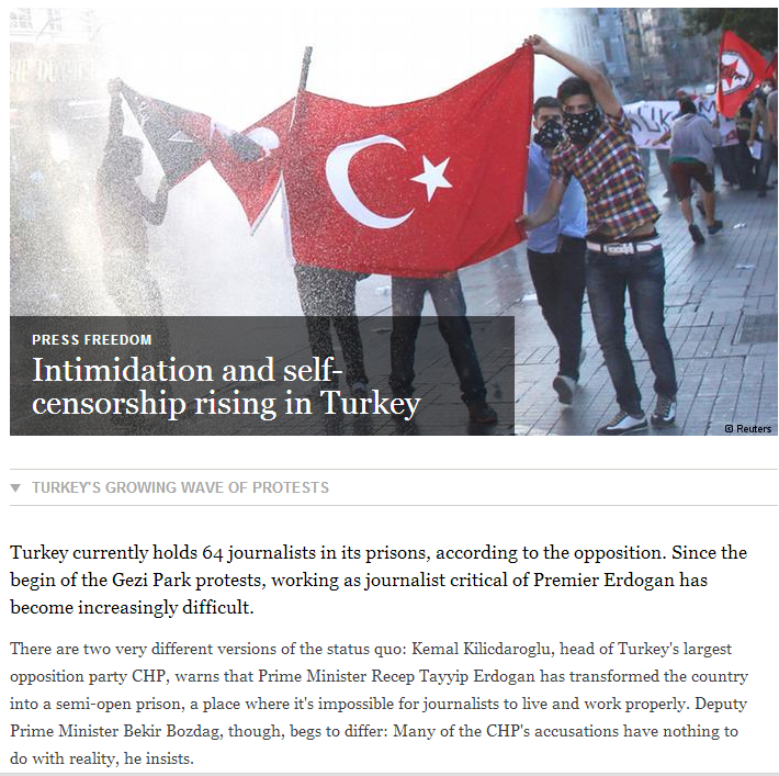 Turkish freedom of press attacked 64 journos in jail 2.8.2013
