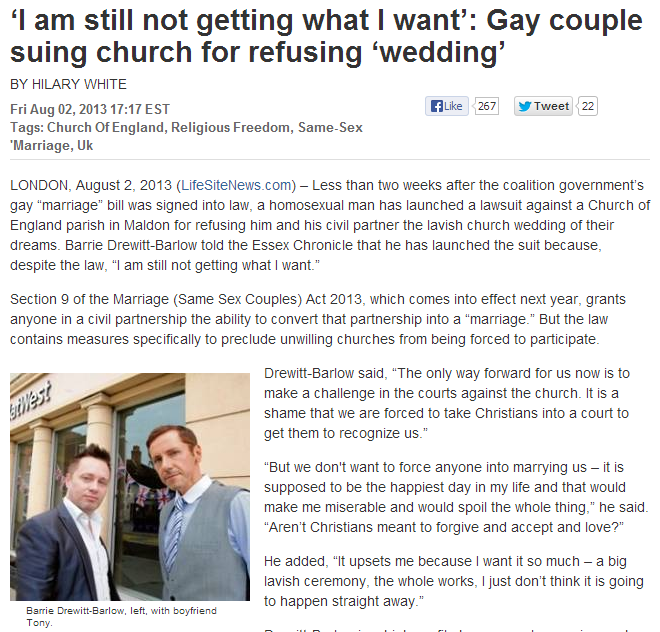 gay couple suiing church for refusing to provide nuptials 4.8.2013