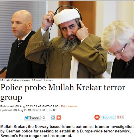 german police probe mullah krekar group for terrorism 10.8.2013