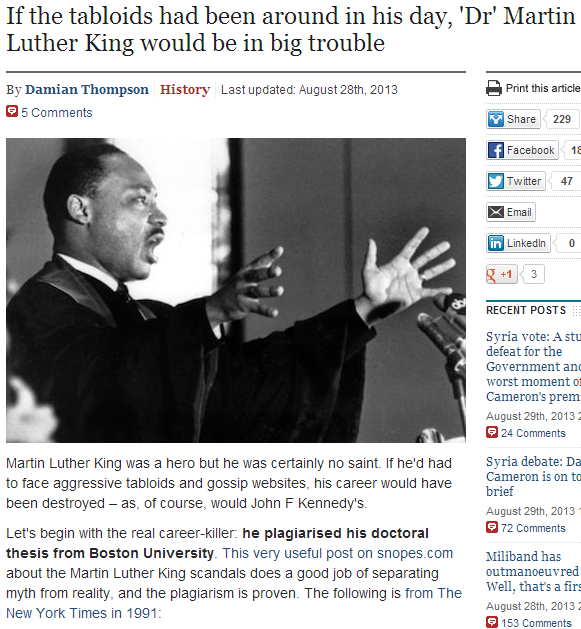 if MLK would have had to deal with tabloid press his career would have been ruined 30.8.2013