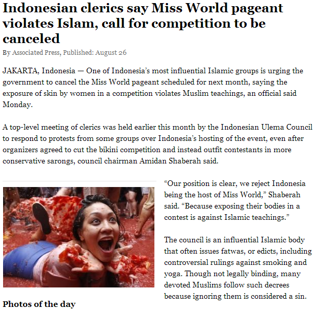 indonesian cleric says no to world beauty pageant 28.8.2013