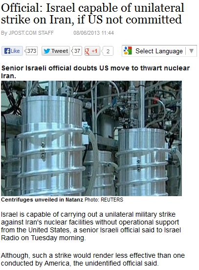 israel capable of iranian strike if obama isn't interesxted 6.8.2013