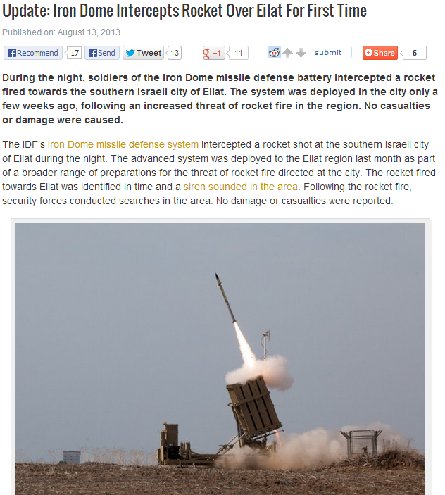 israeli iron dome intercepts missile fired over eilat for first time 13.8.2013