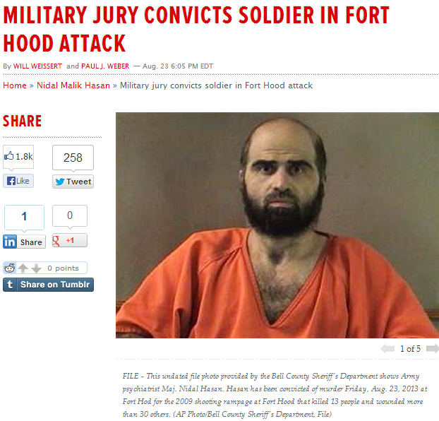 major jihad convicted of ft.hood massacre 24.8.2013