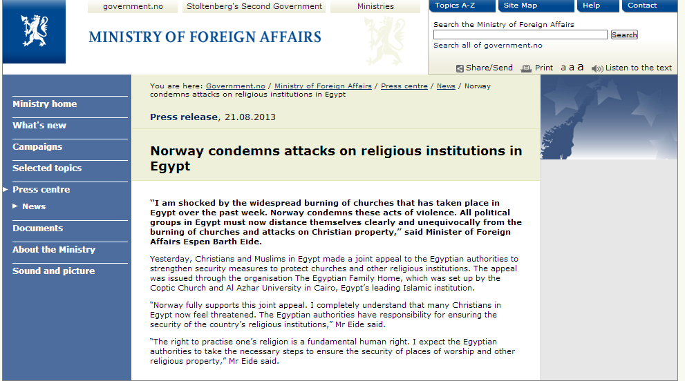 norway condemns attacks on christians in egypt 24.8.2013